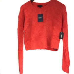 NWT Red Fluffy Knitted Sweater Long Sleeve.